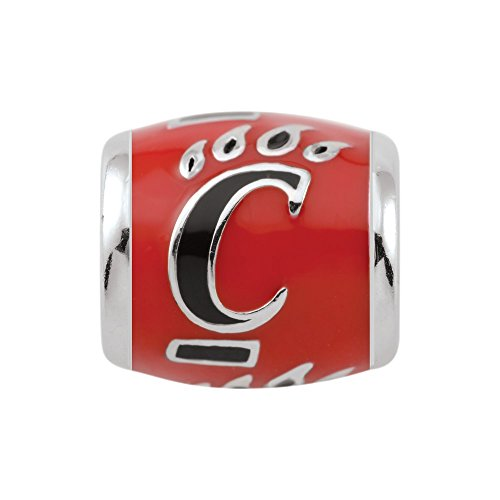 Persona Sterling Silver University of Cincinnati Black C on Red Bead Charm