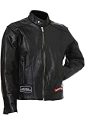 Diamond Plate Men's Buffalo Leather Motorcycle Jacket w/patches
