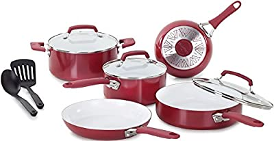 Food Network Cookware Set Nonstick Ceramic Coating 10 Piece, Red, Scratch-Resistant PTFE PFOA and Cadmium Free Dishwasher Safe Oven Safe Glass Lid