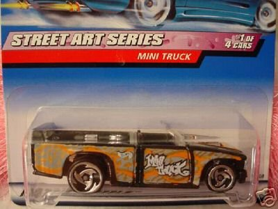 Mattel Hot Wheels 1999 1:64 Scale Street Art Series Black & Silver Mini Truck Die Cast Car 1/4 - 1