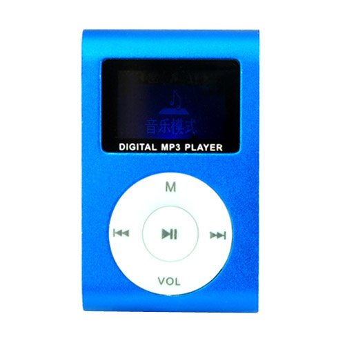 LCD Screen USB Rechargeable Mini Clip MP3 Player with Micro SD/TF Card Slot - Blue rechargeable screen free mp3 player w tf slot 3 5mm jack blue black