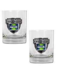 NFL Seattle Seahawks Super Bowl Champ Rocks Glass Set (2-Piece) by Great American Products