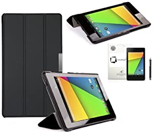 New Asus Google Nexus 7 FHD 2013 (2nd Generation Model, Android 4.3 4.4) BLACK Multi-Function SMART FOLIO Front & Back Case / Smart Cover / Typing & Viewing Stand / Premium SLIM Flip Case With Magnetic Sleep Sensor & Screen Protector Shield Guard & Nexus 7 FHD 2 2.0 II Tablet Black Stylus Pen Accessory Accessories Pack by InventCase® (Compatible only with the Nexus 7 2013 Model)