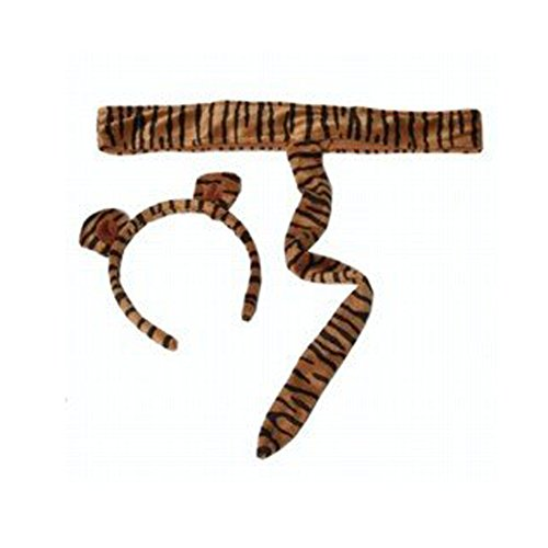 Kids Plush Tiger Headband Ears Tail Safari Dressup Halloween Costume - 1
