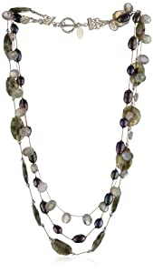 Margo Morrison New York Faceted Labradorite, Grey Pearl Combo Triple Strand Necklace