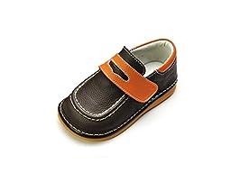 HLT Toddler/Little Kid Boy Fisherman Loafer Brown Squeaky Shoe [US 7 / EU 23]