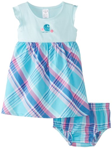 Carhartt Baby-Girls Infant Washed Knit Woven Plaid Jumper Set, Plume Aqua, 24 Months front-860100
