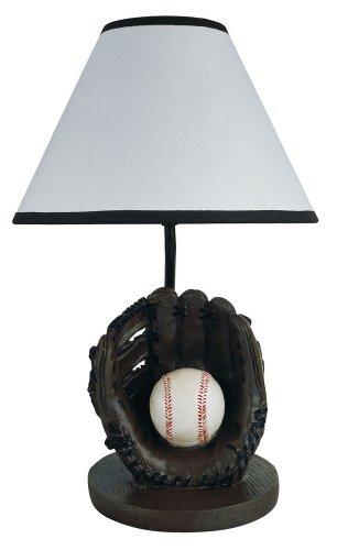 Ore International Ore International 31604Bb Baseball Accent Lamp, White / Creams, Resin