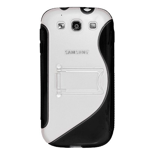 Amzer AMZ94165 Protective TPU Skin Case Cover with Kickstand for Samsung GALAXY S III GT-I9300/Samsung GALAXY S 3 I9300 - Retail Packaging - Black (Galaxy S Iii Cover compare prices)
