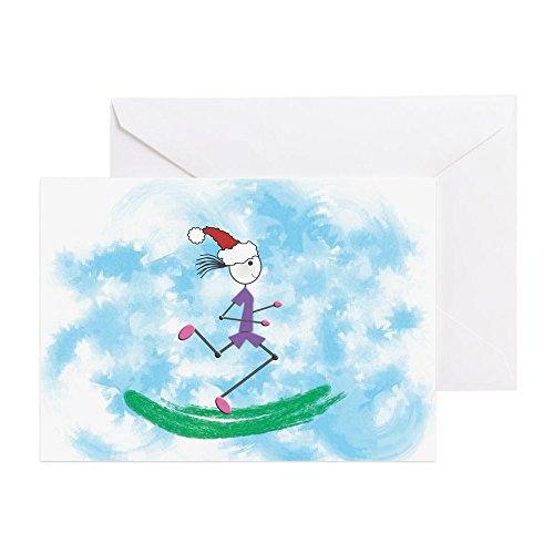 CafePress - Christmas Holiday Lady Runner - Greeting Card, Note Card with Blank Inside, Birthday Card or Special Occasion Glossy