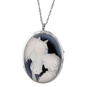 Sterling Silver Italian Blue Agate Lady and Horse Cameo Pin-Pendant Necklace, 18""