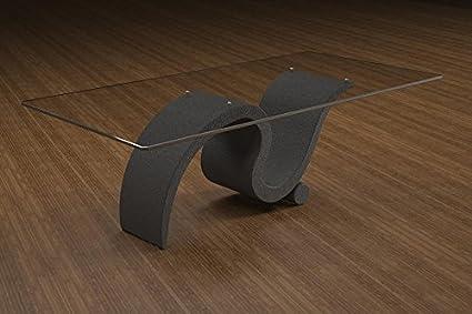 Couchtisch aus Marmor und Glas mit grundlegenden Sitz Modell - Perseo - Cm 110 x 65 - Höhe: cm 38 - Finish: Graphit