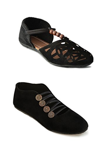 Myra Women Laser Cut and Party Wear Shoe (Pack Of 2)