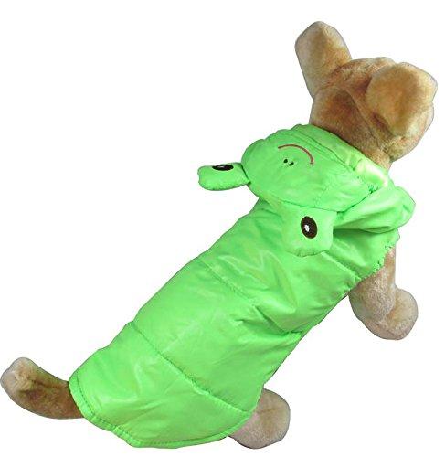 Esingyo Pet Cat Dog Green Frog Costume Windproof Coat Jacket Vest Small Dog Clothes M