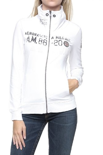 Aeronautica Militare Zip Through Sweatshirt AM-88-20, Color: White