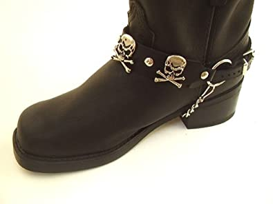 Biker Boots Boot Chains Black Leather with Skull & Crossbones