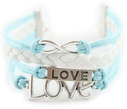 Fashionwu Style Beautiful Antique Silver Plated Cross Cotton Rope Leather Bracelet - Blue