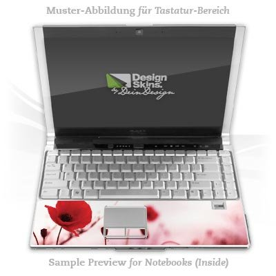 Design Skins für HP EliteBook 2530p Tastatur (Inlay) - Red Flowers Design Folie