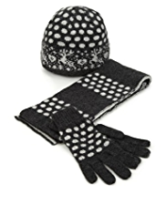 Reindeer Design & Spotted Hat, Scarf & Gloves Set with Angora