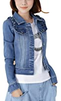 Women Ladies Girls Slim Fitted Turn-Down Collar Button up Long Sleeve Denim Light Wash Faded Colour Blue Jacket Jean Jacket