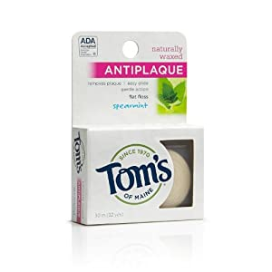 Tom's of Maine Natural Waxed Antiplaque Flat Floss, Spearmint, 32-Yards (Pack of 6)
