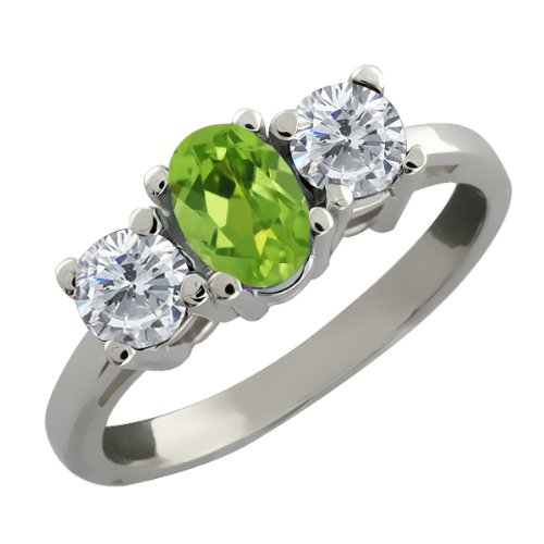 Ct Oval Green Peridot and White Diamond Sterling Silver Ring Jewelry