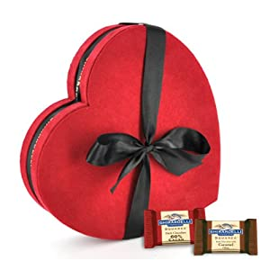 Ghirardelli Chocolate Large Red & Black Heart Gift Box with SQUARES Chocolates, 32 pcs.