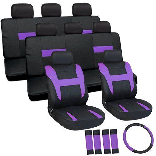 Oxgord Flat Cloth Seat Cover Set For Chevrolet Mini Cargo Vans, Airbag Compatible, Split Bench, Purple & Black front-948719