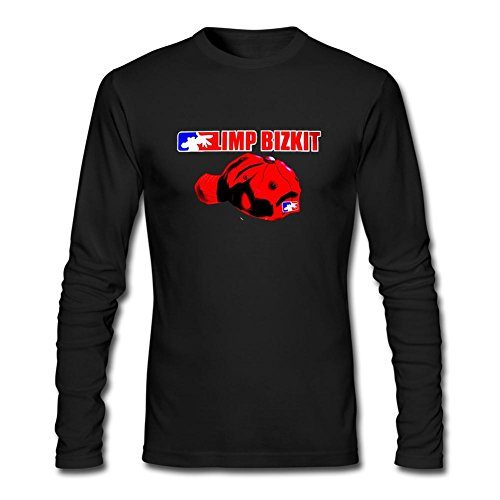 Rosar Men's Limp Bizkit Logo Long Sleeve 100% Cotton T Shirt Black (Limp Bizkit Merchandise compare prices)