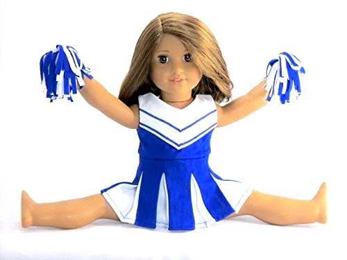 Doll Clothes -Blue and White Doll Cheerleader Outfit includes Pom Poms- Fits 18