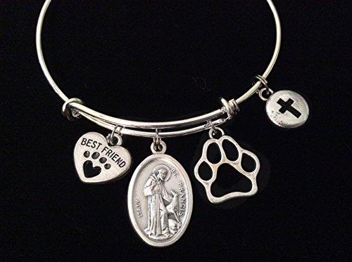 saint-francis-patron-of-animal-silver-expandable-charm-bracelet-best-friend-paw-cross-bangle-double-