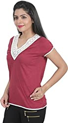 Chikbird Women's Top (CBSSAWI018_Red_Medium)