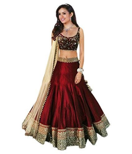 Denim Women\'s Clothing Designer Party Wear Dress Low Price Sale Offer Maroon Color Silk Heavy Bridal Wedding Free Size Lehenga | Ghagra Choli