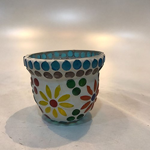 Dlite Crafts Multicolor Polka Design Home Decorative Votive Candle Holder, Set Of 2 PCs - B06XYLBP11