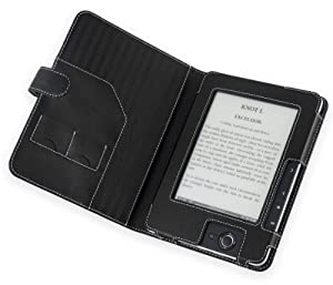 Cover-Up PocketBook Pro 602 / 603 / 612 Faux Leather Cover Case (Book Style with White Contrast Stitching) - Black at Electronic-Readers.com