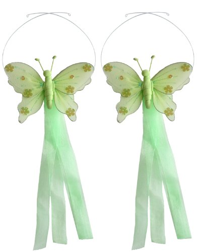 Butterfly Tiebacks Green Jewel Nylon Butterflies Tieback Pair / Set Decorations. Window Curtains Holder Drapery Holders Tie Backs To Decorate A Baby Nursery Bedroom, Girls Room Wall Decor, Wedding Birthday Party, Bridal Baby Shower, Bathroom, Curtain Deco front-1002543