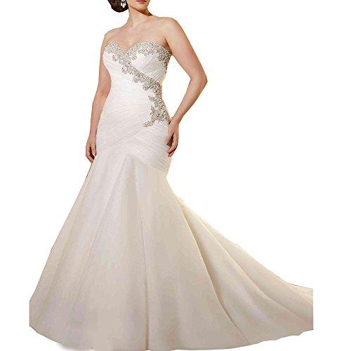 03b4beb21b1 AbaoWedding Women s Lace Strapless Ruched Mermaid Long Wedding Dress Size 14