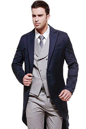 MYS da uomo Custom Made blu coda lunga-Cappotto con grigio gilet e pantaloni Set Blue Su Misura