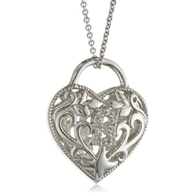 "Sterling Silver Diamond Lock Heart Pendant Necklace (0.04 cttw, I-J Color, I2-I3 Clarity), 18"": Jewelry"