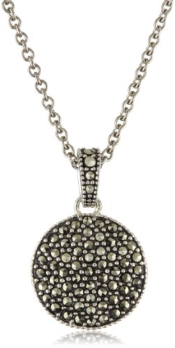 Judith Jack Sterling Silver Marcasite and Crystal Pave Reversible Circular Pendant Necklace, 16