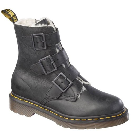 Dr Martens Women's Billie Fur Trimmed Boot (3 UK, Black)