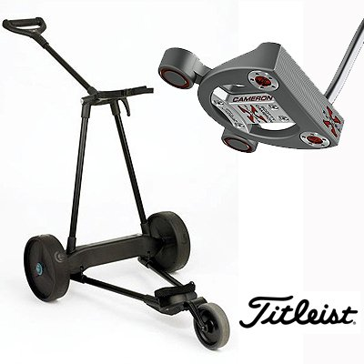 New! Emotion E3 23Lbs Pull Push Electric Motorized 3-Wheel Golf Cart Trolley + New! Titleist Scotty Cameron Futurax Putter