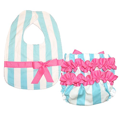 Caught Ya Lookin' Bib and Bloomer Set, Blue and White Stripe with Hot Pink Ribbon