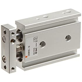 SMC CXS Series Aluminum Air Cylinder with Guide Rod Plate, Slide Bearing, Compact, Switch Ready, Cushioned
