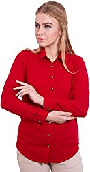 TightHugs Women's Regular Fit Shirt ( 636007_S, Red, Small)