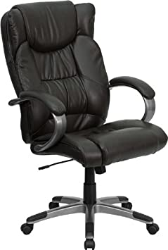 Great High Back Leather Executive Office Chair with Heavy Titanium Nylon Base