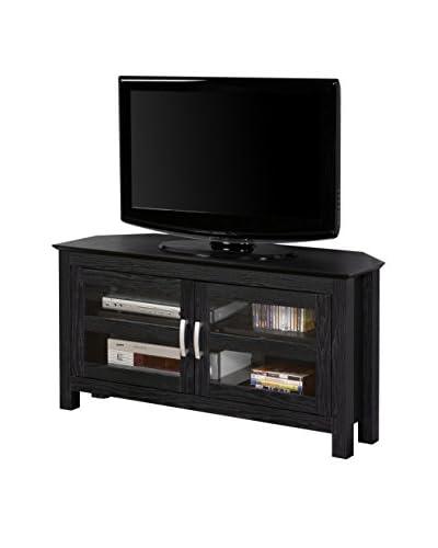 Walker Edison Wood Corner TV Stand Console, Black