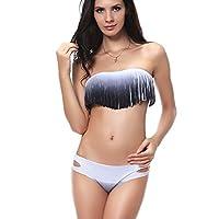 DJT Womens Sexy Halter Tassel Padded Boho Fringe Tassel Bandeau 2pcs Swimwear Swimsuit Bikini Bathing Suit Beachwear Top and Bottom Set 7 Colors Sizes