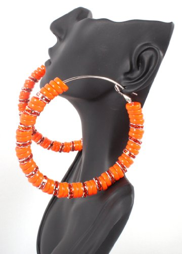 Large Orange Lady Gaga Poparazzi Hoop Basketball Wives Earrings
