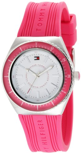 Tommy Hilfiger Women's 1781004 Sport Quartz White Dial Pink Silicon Strap Watch